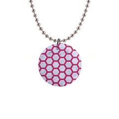 HEXAGON2 WHITE MARBLE & PINK DENIM (R) Button Necklaces