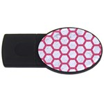 HEXAGON2 WHITE MARBLE & PINK DENIM (R) USB Flash Drive Oval (4 GB) Front