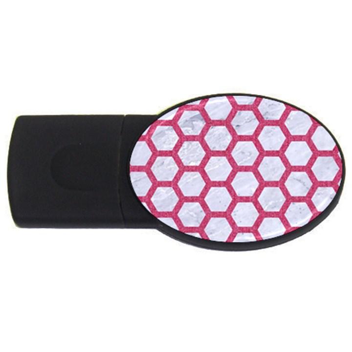 HEXAGON2 WHITE MARBLE & PINK DENIM (R) USB Flash Drive Oval (4 GB)