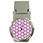 HEXAGON2 WHITE MARBLE & PINK DENIM (R) Money Clip Watches Front