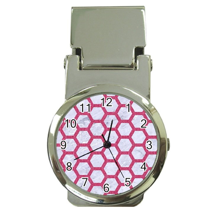 HEXAGON2 WHITE MARBLE & PINK DENIM (R) Money Clip Watches