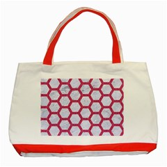Hexagon2 White Marble & Pink Denim (r) Classic Tote Bag (red)