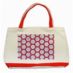 HEXAGON2 WHITE MARBLE & PINK DENIM (R) Classic Tote Bag (Red) Front