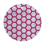 HEXAGON2 WHITE MARBLE & PINK DENIM (R) Round Ornament (Two Sides) Front