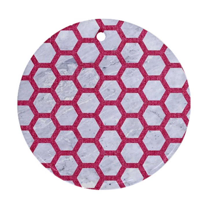 HEXAGON2 WHITE MARBLE & PINK DENIM (R) Round Ornament (Two Sides)