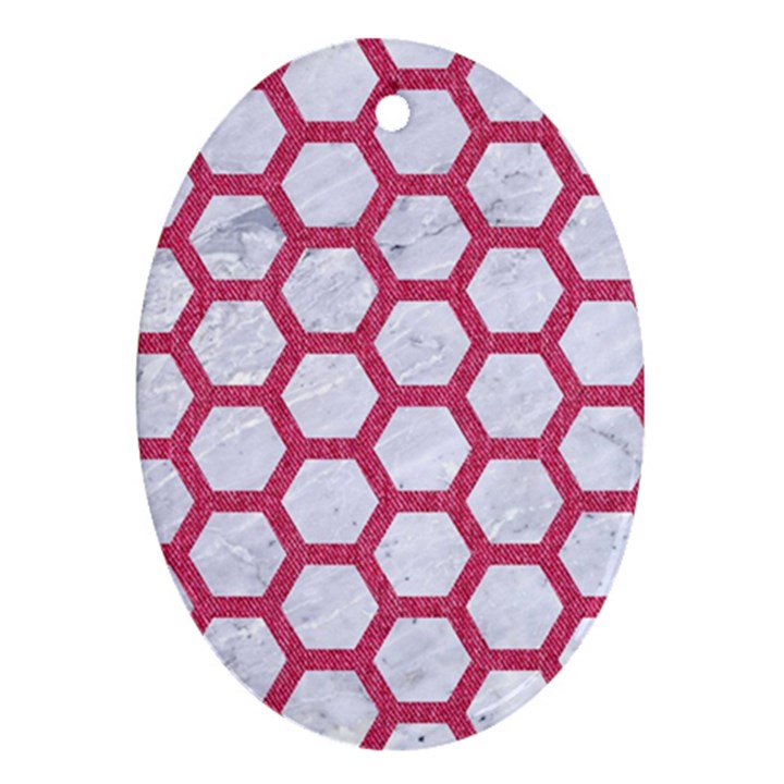 HEXAGON2 WHITE MARBLE & PINK DENIM (R) Oval Ornament (Two Sides)