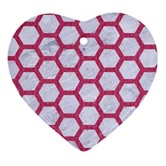 Hexagon2 White Marble & Pink Denim (r) Heart Ornament (two Sides)