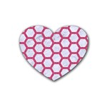 HEXAGON2 WHITE MARBLE & PINK DENIM (R) Heart Coaster (4 pack)  Front