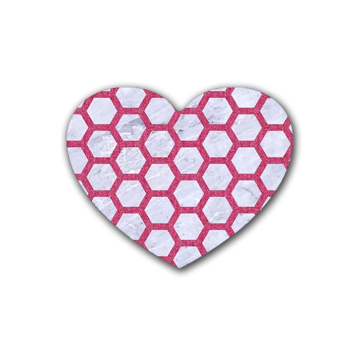 HEXAGON2 WHITE MARBLE & PINK DENIM (R) Heart Coaster (4 pack)