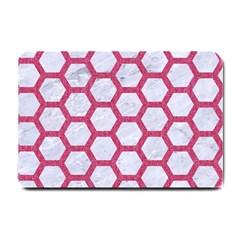 HEXAGON2 WHITE MARBLE & PINK DENIM (R) Small Doormat