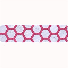 Hexagon2 White Marble & Pink Denim (r) Large Bar Mats