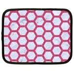 HEXAGON2 WHITE MARBLE & PINK DENIM (R) Netbook Case (Large) Front
