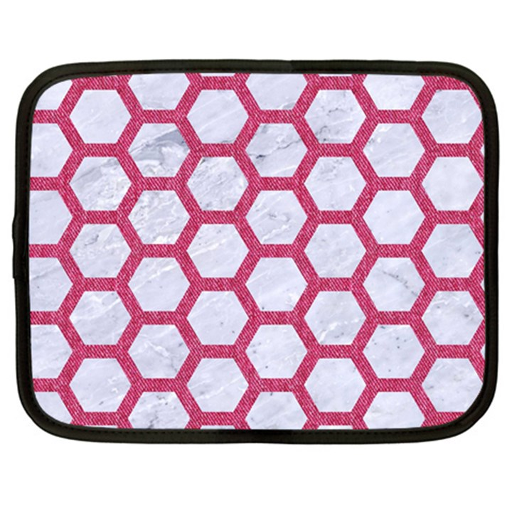 HEXAGON2 WHITE MARBLE & PINK DENIM (R) Netbook Case (Large)
