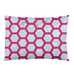Hexagon2 White Marble & Pink Denim (r) Pillow Case