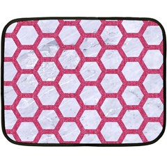 Hexagon2 White Marble & Pink Denim (r) Fleece Blanket (mini) by trendistuff