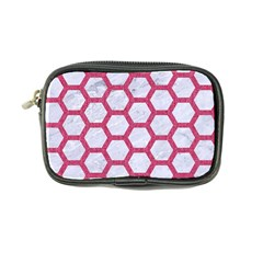 Hexagon2 White Marble & Pink Denim (r) Coin Purse