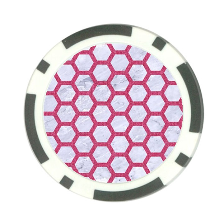 HEXAGON2 WHITE MARBLE & PINK DENIM (R) Poker Chip Card Guard (10 pack)
