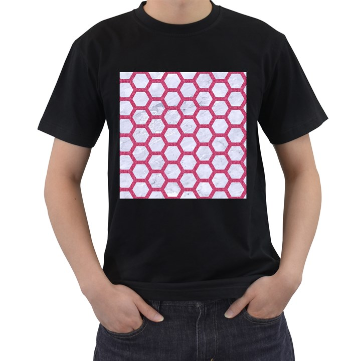 HEXAGON2 WHITE MARBLE & PINK DENIM (R) Men s T-Shirt (Black)