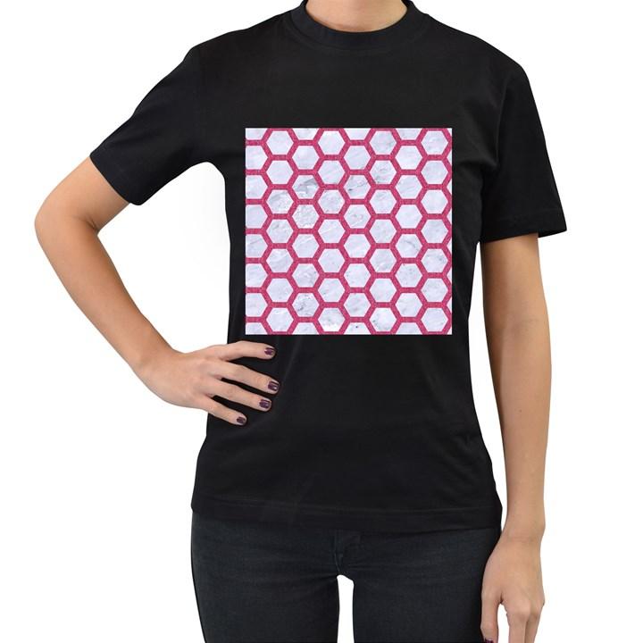 HEXAGON2 WHITE MARBLE & PINK DENIM (R) Women s T-Shirt (Black)