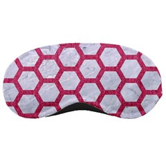 Hexagon2 White Marble & Pink Denim (r) Sleeping Masks by trendistuff