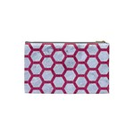 HEXAGON2 WHITE MARBLE & PINK DENIM (R) Cosmetic Bag (Small)  Back