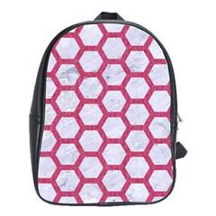 Hexagon2 White Marble & Pink Denim (r) School Bag (large)