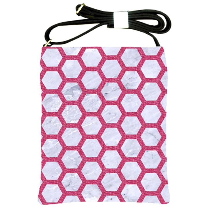 HEXAGON2 WHITE MARBLE & PINK DENIM (R) Shoulder Sling Bags