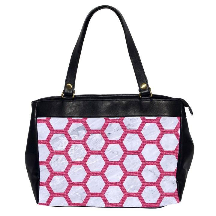 HEXAGON2 WHITE MARBLE & PINK DENIM (R) Office Handbags (2 Sides)