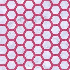 HEXAGON2 WHITE MARBLE & PINK DENIM (R) Magic Photo Cubes