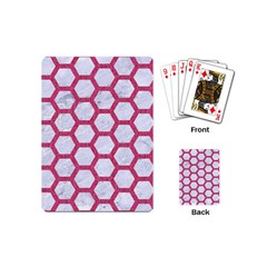 HEXAGON2 WHITE MARBLE & PINK DENIM (R) Playing Cards (Mini)