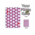HEXAGON2 WHITE MARBLE & PINK DENIM (R) Playing Cards 54 (Mini)  Front - Heart3