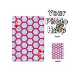 HEXAGON2 WHITE MARBLE & PINK DENIM (R) Playing Cards 54 (Mini)  Front - HeartA