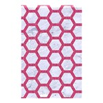 HEXAGON2 WHITE MARBLE & PINK DENIM (R) Shower Curtain 48  x 72  (Small)  42.18 x64.8 Curtain