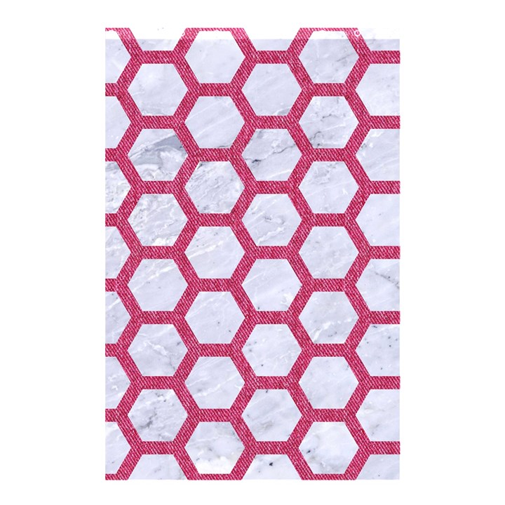 HEXAGON2 WHITE MARBLE & PINK DENIM (R) Shower Curtain 48  x 72  (Small)