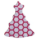 HEXAGON2 WHITE MARBLE & PINK DENIM (R) Christmas Tree Ornament (Two Sides) Front