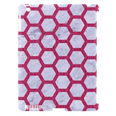 Hexagon2 White Marble & Pink Denim (r) Apple Ipad 3/4 Hardshell Case (compatible With Smart Cover)