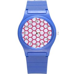 Hexagon2 White Marble & Pink Denim (r) Round Plastic Sport Watch (s)
