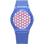 HEXAGON2 WHITE MARBLE & PINK DENIM (R) Round Plastic Sport Watch (S) Front