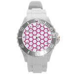HEXAGON2 WHITE MARBLE & PINK DENIM (R) Round Plastic Sport Watch (L) Front