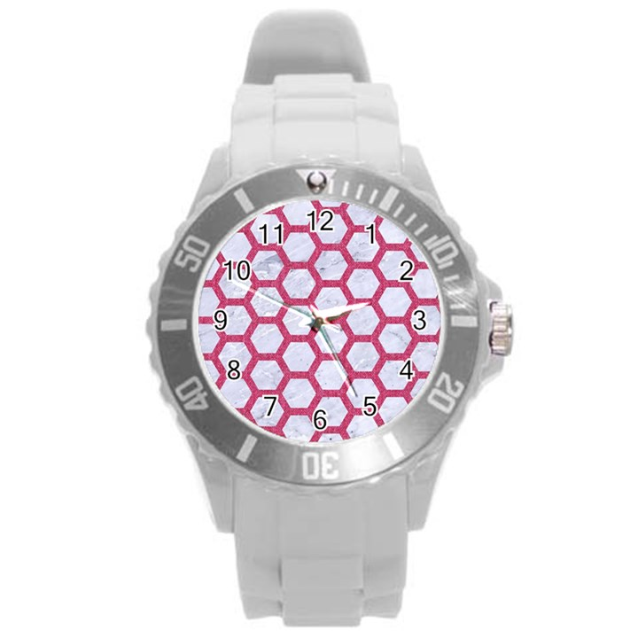 HEXAGON2 WHITE MARBLE & PINK DENIM (R) Round Plastic Sport Watch (L)