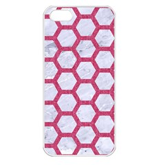 Hexagon2 White Marble & Pink Denim (r) Apple Iphone 5 Seamless Case (white)