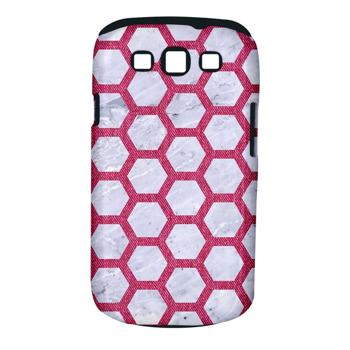 HEXAGON2 WHITE MARBLE & PINK DENIM (R) Samsung Galaxy S III Classic Hardshell Case (PC+Silicone)