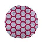 HEXAGON2 WHITE MARBLE & PINK DENIM (R) Standard 15  Premium Round Cushions Front