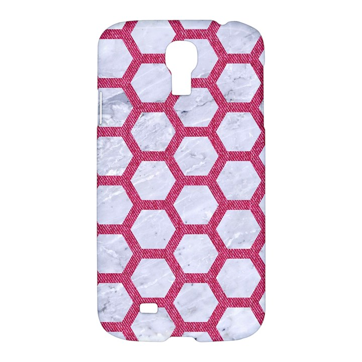 HEXAGON2 WHITE MARBLE & PINK DENIM (R) Samsung Galaxy S4 I9500/I9505 Hardshell Case