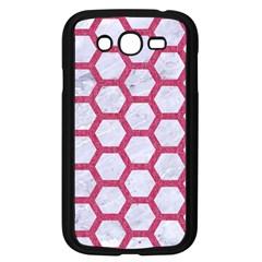 Hexagon2 White Marble & Pink Denim (r) Samsung Galaxy Grand Duos I9082 Case (black)