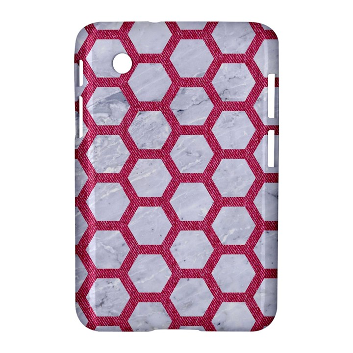 HEXAGON2 WHITE MARBLE & PINK DENIM (R) Samsung Galaxy Tab 2 (7 ) P3100 Hardshell Case