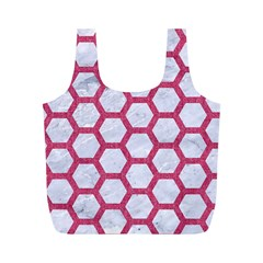 Hexagon2 White Marble & Pink Denim (r) Full Print Recycle Bags (m)