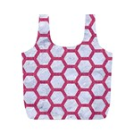HEXAGON2 WHITE MARBLE & PINK DENIM (R) Full Print Recycle Bags (M)  Front