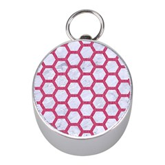 HEXAGON2 WHITE MARBLE & PINK DENIM (R) Mini Silver Compasses