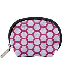 Hexagon2 White Marble & Pink Denim (r) Accessory Pouches (small)